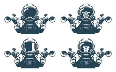 Astronaut with blasters in his hands. Space pirate with guns. Isolated vector illustration.