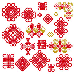 Red template symbols in chinese style. Ethnic ornament and eastern elements. Trendy print for design. Vector set.