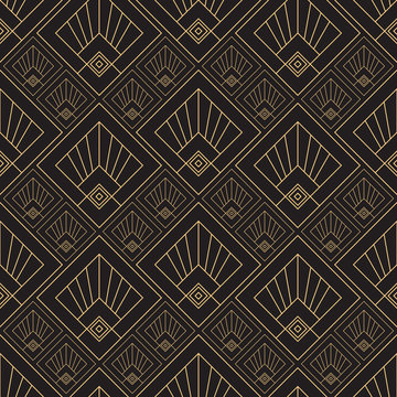 Gold pattern. Linear geometric Art Deco bricks. 20s retro style. Luxury seamless pattern. Packaging or menu design. Vector. Golden tiles.