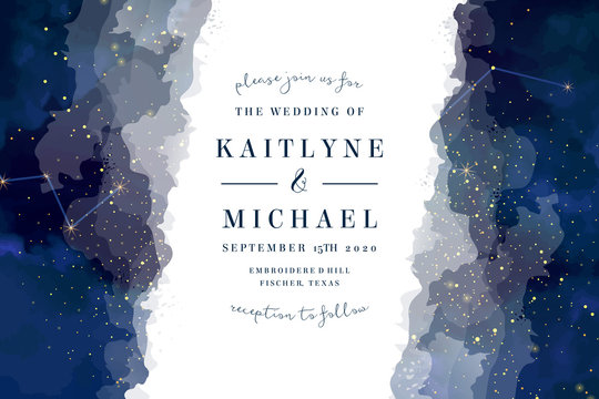 Magic night dark blue sky with sparkling stars vector wedding invite
