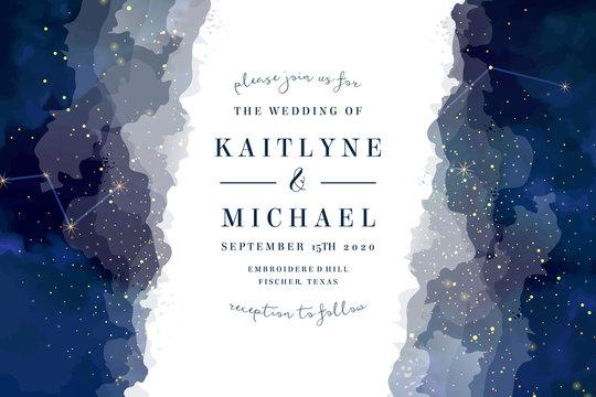 Magic night dark blue sky with sparkling stars vector wedding invite