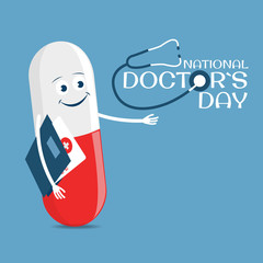 Vector Illustration on the theme Doctor`s Day. Greeting card in flat design.