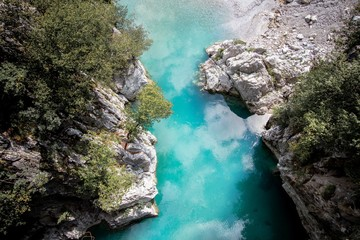 Acrylic Prints Eastern Europe Aerial shot of the Valbona Valley National Park with reflecting waters in Albania