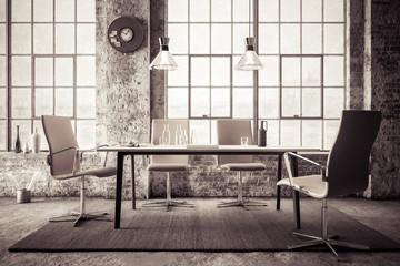 Office Lounge inside an industrial Loft (B&W) - 3d visualization
