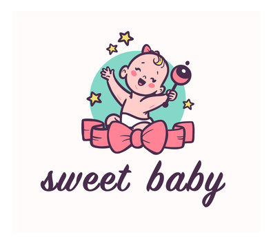 Sweet baby logo with little happy baby girl smiling sit and hold rattle with big bow in front her isolated. Baby care, toys and accessory shop emblem, logo, sign etc. Vector flat illustration.