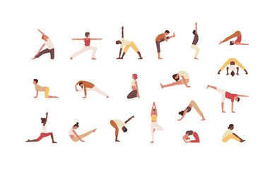 Wall Mural - People doing yoga flat vector illustrations set. Male and female cartoon characters exercising. Men and women practicing Asana isolated collection on white background. Physical activity, workout.