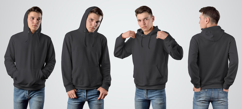 Mockup of a male black hoodie on a young guy on an isolated background, set with a pose in front and behind.