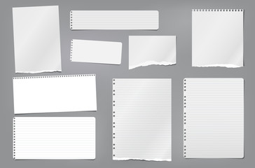 Torn white blank and lined note, notebook paper strips, pieces and sheeds stuck on dark grey background. Vector illustration