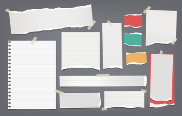 Torn white, colorful note, notebook paper strips and pieces stuck with sticky tape on dark grey background. Vector illustration