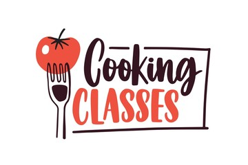 Cooking lessons flat vector logotype. Cartoon tomato on fork with handwritten lettering sticker. Culinary courses logo isolated on white background. Cookery school advertisement label, emblem design. Wall mural