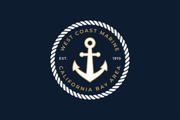 Sailor Logo Template with Rope and Anchor