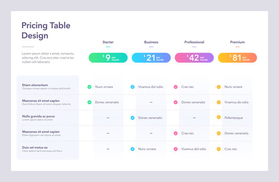 Modern pricing table design with four colorful subscription plans. Flat infographic design template for website or presentation.
