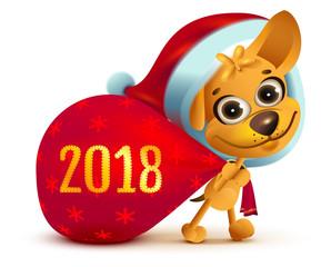 Yellow dog symbol of year 2018. Funny Santa dog carries big bag of gifts