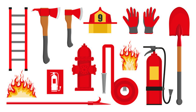 Set of firefighting items. Fire protection equipment. Fireman equipment. Equipment for firefighter. Profession Firefighter. Firehose hydrant, fire extinguisher, shovel, ax, helmet, gloves, ladder.