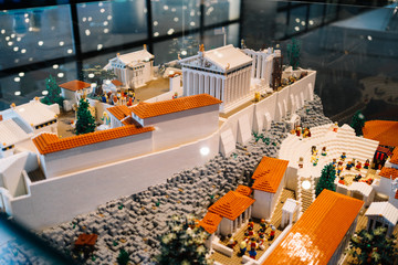Athens, Greece - Dec 22, 2019: lego miniatur of Acropolis, Exhibition in The Acropolis Museum in Athens, Greece, Europe