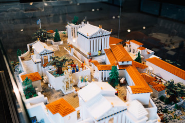 Athens, Greece - Dec 22, 2019: lego miniatur of Acropolis, Exhibition in The Acropolis Museum in Athens, Greece, Europe