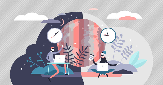 Time zone concept, flat tiny persons concept vector illustration