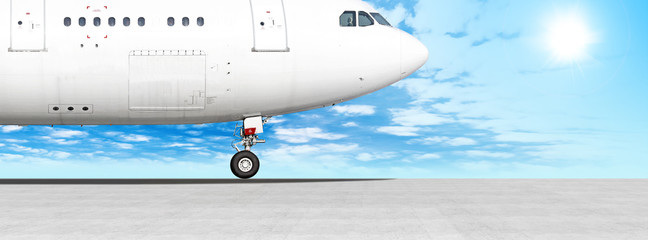 white airplane on runway at airport panorama landscape against blue sky background. Side ultra wide panoramic view of passenger plane fuselage nose part. Modern aircraft on ground. Aviation wallpaper Fototapete