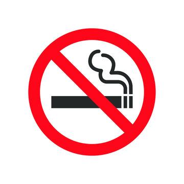 No smoking icon sign. Cigar, tobacco prohibition logo symbol. Vector illustration image. Isolated on white background.