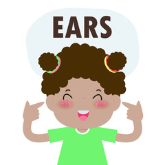 """Children girl Pointing to and Saying """"ears"""" as Part of Naming Body or Face Parts Series for kid isolated vector Illustration"""