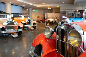 Athens, Greece - Dec 22, 2019: Interior view of the Hellenic Motor Museum in Athens city. Collection of old time classic cars from around the world