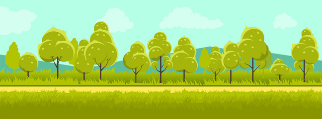 Garden Poster Pistachio Summer landscape with trees