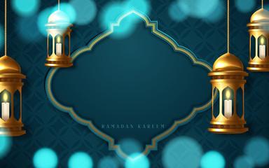Ramadan kareem poster, arabic calligraphy with hanging ramadan lanterns. Vector illustration
