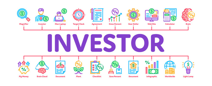 Investor Financial Minimal Infographic Web Banner Vector. Investor With Money Dollar And Lightbulb, Brain With Percentage Mark And Document Concept Illustrations