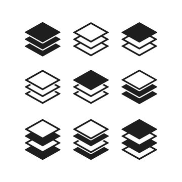 Set of Layers icon sign vector design.