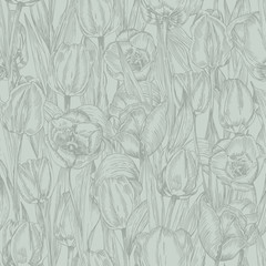 Greeting seamless with Spring flower tulips bouquet in gray green colors on blue background. Engraving drawing Vintage style