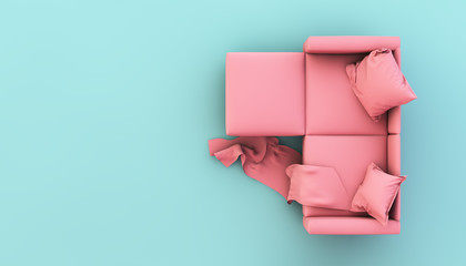 sofa on pastel colors