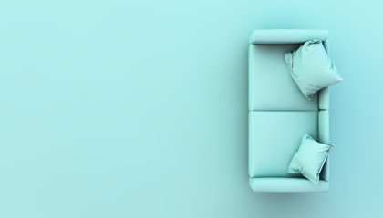 top view of blue sofa 3d rendering