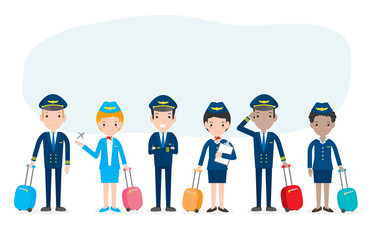 pilot and stewardess. set of officers and flight attendants Stewardesses  isolated on white background, pilot and air hostess Vector Illustration.