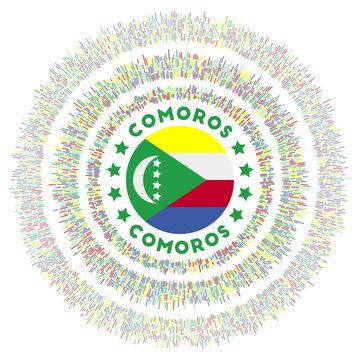Comoros symbol. Radiant country flag with colorful rays. Shiny sunburst with Comoros flag. Astonishing vector illustration.