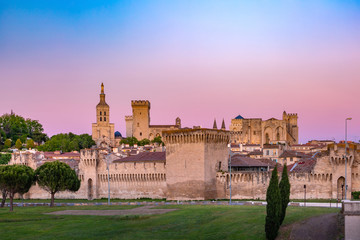 Fototapete - Palace of the Popes, once fortress and palace, one of the largest and most important medieval Gothic buildings in Europe, at sunset, Avignon, France