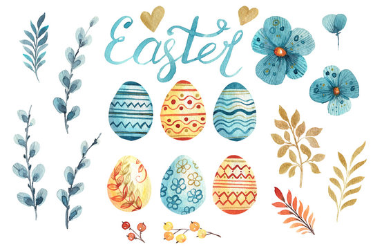 Set of hand drawn watercolor elements for easter design. eggs, branches, flowers, pussy willow. Blue and orange elements. Best for greeting cards, posters, fabric, ceramic, textile, scrapbooking