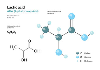 Lactic acid. AHA Alphahydroxy acid. Structural chemical formula and molecule 3d model. Atoms with color coding. Vector illustration