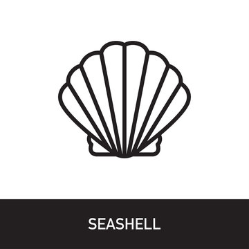 Seashell Outline Icon Design. Modern Vector Illustration isolated on white background with subtitle