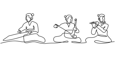 Continuous line drawing of people with Gayageum or Kayagum, is a traditional Korean zither-like string. One hand drawn sketch of korean music performance. Fototapete