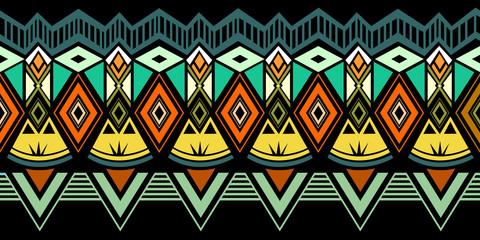 Fototapeta Tribal pattern vector. Seamless ethnic handmade with stripes vector illustration. Geometric shapes aztec, maya, and ancient design. obraz