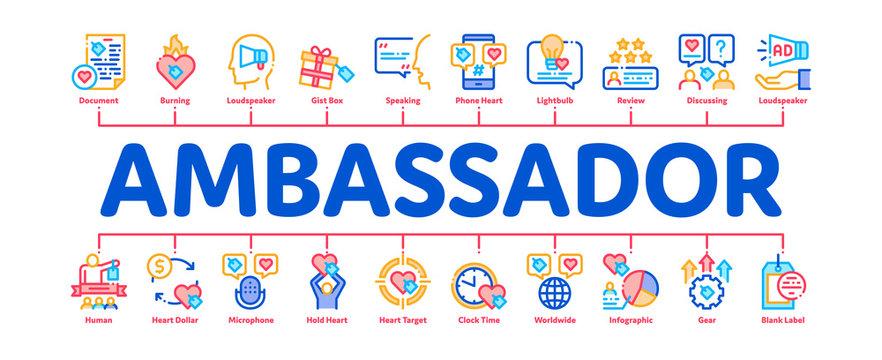 Ambassador Creative Minimal Infographic Web Banner Vector. Loudspeaker And Gift, Human Holding Heart And Speaking, Ambassador Concept Illustrations