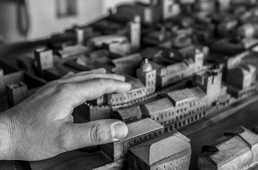 Wooden scale model of Caceres Historic Quarter for blind people