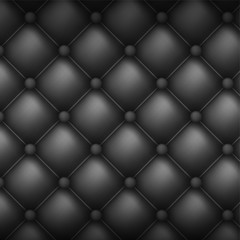 Papiers peints Cuir Square decorative upholstery quilted background. Black leather texture sofa backdrop.