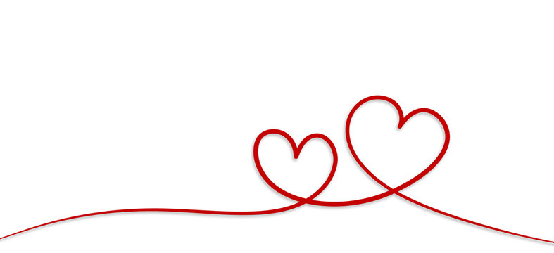 Valentines day. Continous line heart shape border with painted heart on white background. Valentines day, marriage, mother day, love concept.