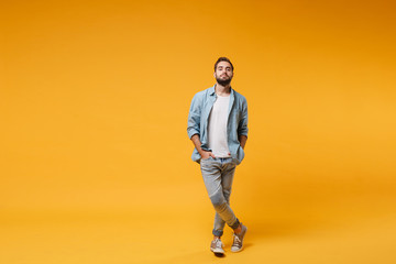 Handsome young bearded man in casual blue shirt posing isolated on yellow orange background, studio portrait. People sincere emotions lifestyle concept. Mock up copy space. Holding hands in pockets. Papier Peint