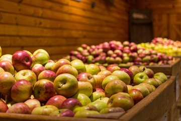 Spoed Fotobehang Voorgerecht Closeup of green and red apples in wooden containers under the lights with a blurry background