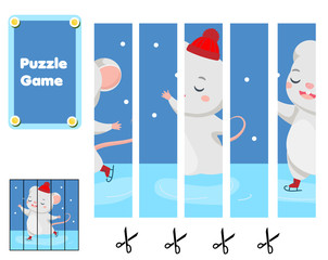 Cute mouse skating. Puzzle for toddlers. Match pieces and complete the picture. Educational game for children