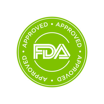 FDA Approved (Food and Drug Administration) icon, symbol, label, badge, logo, seal. Green and white.