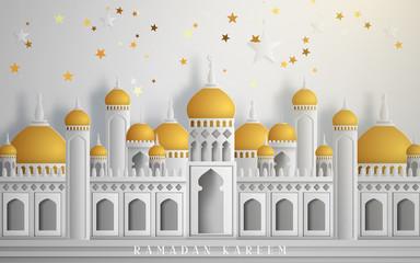 Arabic calligraphy design for Ramadan Kareem, white mosque element. Vector illustration