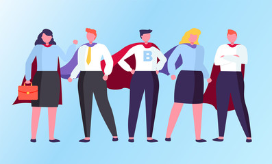 Man and woman characters standing in superhero coats. Businessman and businesswoman comic people in cloak together isolated on blue. Teamwork success of superhuman male and female in suit vector